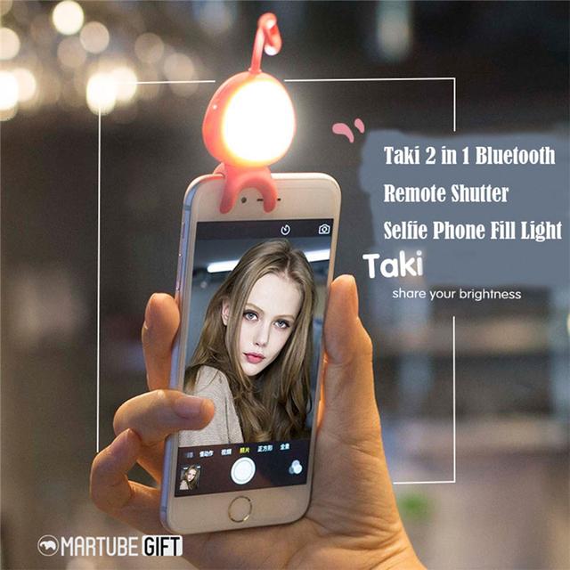 2 en 1 teléfono inteligente led teléfono selfie iluminan bluetooth fotografía de la cámara disparador remoto para iphone para samsung para android teléfono