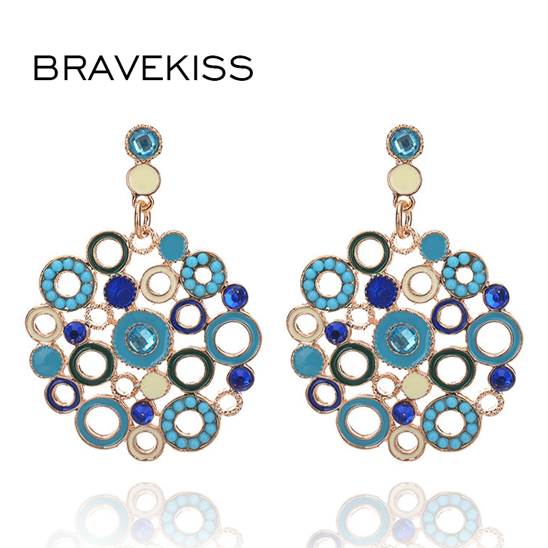 BRAVEKISS Color Circle Europe And The United States Earrings Earring Retro Round Circle Earrings Jewelry 2018 Aretes De BPE0793