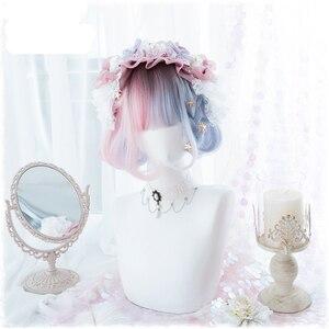 Image 3 - 夏かわいいブルーピンクオンブルカーリー Bobo ロリータかわいい原宿甘い人工毛コスプレ衣装ウィッグ + キャップ