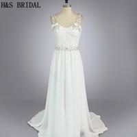 Real Model Custom Made Sliver Stone Appliques Flowers Designer Wedding Dresses