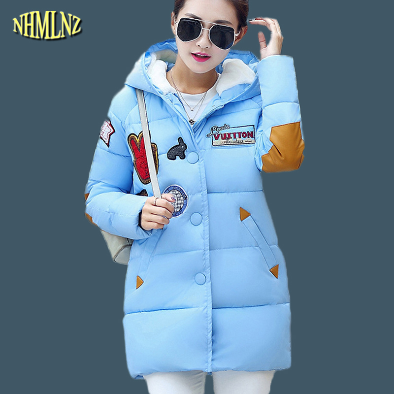 New Winter Women Jacket Korean style Medium length Warm Cotton coat Solid color Hooded Loose Plus size Fashion Female Coat WK224 e love 2013 new korean fashion medium style ol slim fit blazer pu leather coat black size m