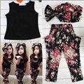Conjuntos de Roupas de verão 2016 Meninas Moda Bebê Roupas Das Meninas floral sem mangas casual outfit + headband Roupa das Crianças set