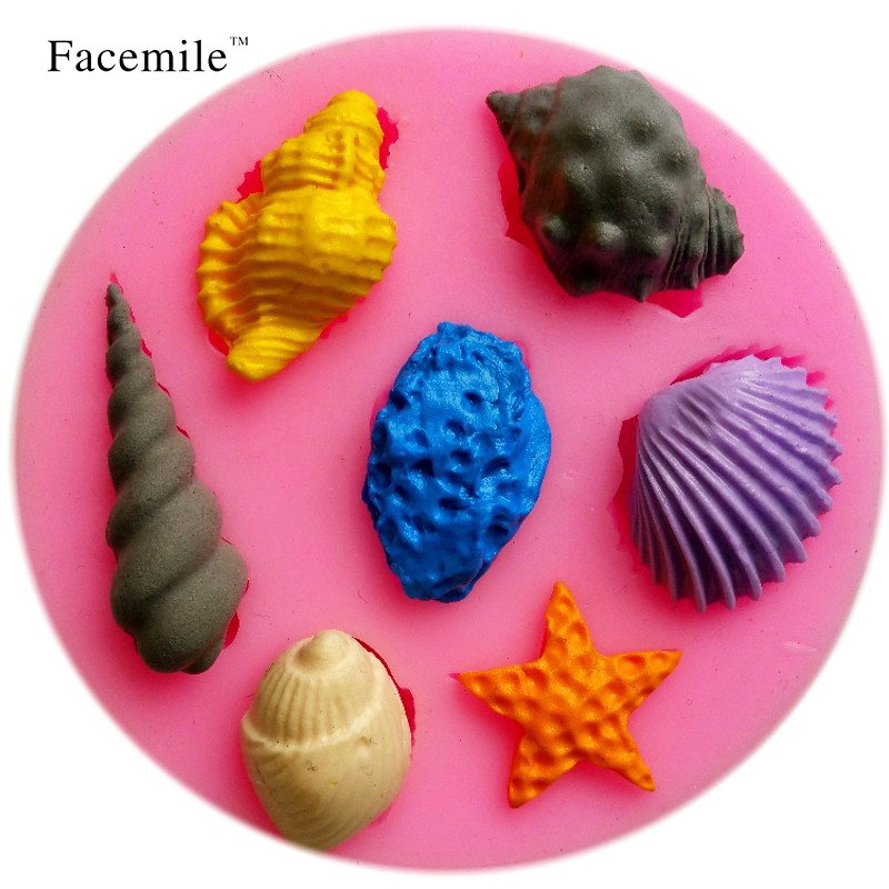 Sale 3D Mold Beautiful Sea Shell and Conch Shape Silicone Cookware Dining Bar Non-Stick Gift Decorating fondant soap mold 50-105