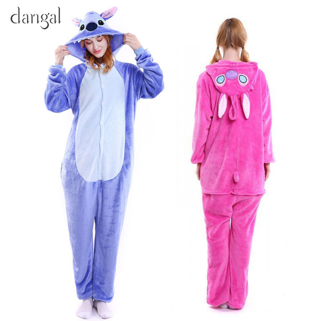 a5f5e34f87 Lilo and Stitch Pajamas Blue Pink Stitch Kigurumi Stitch Onesie Adult  Couple Costume Fleece Pajamas Cute Unisex Soft Warm