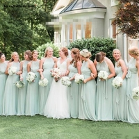 Sage Green Chiffon Bridesmaid Dresses Halter Long Ruffles Floor Length Open Back Bohemian Country Party Maid of Honor Gowns Form