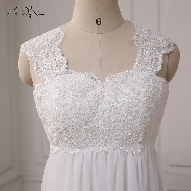 In Stock Chiffon Beach Wedding Dresses Cap Sleeve Empire Lace-up Back Pregnant Bridal dress