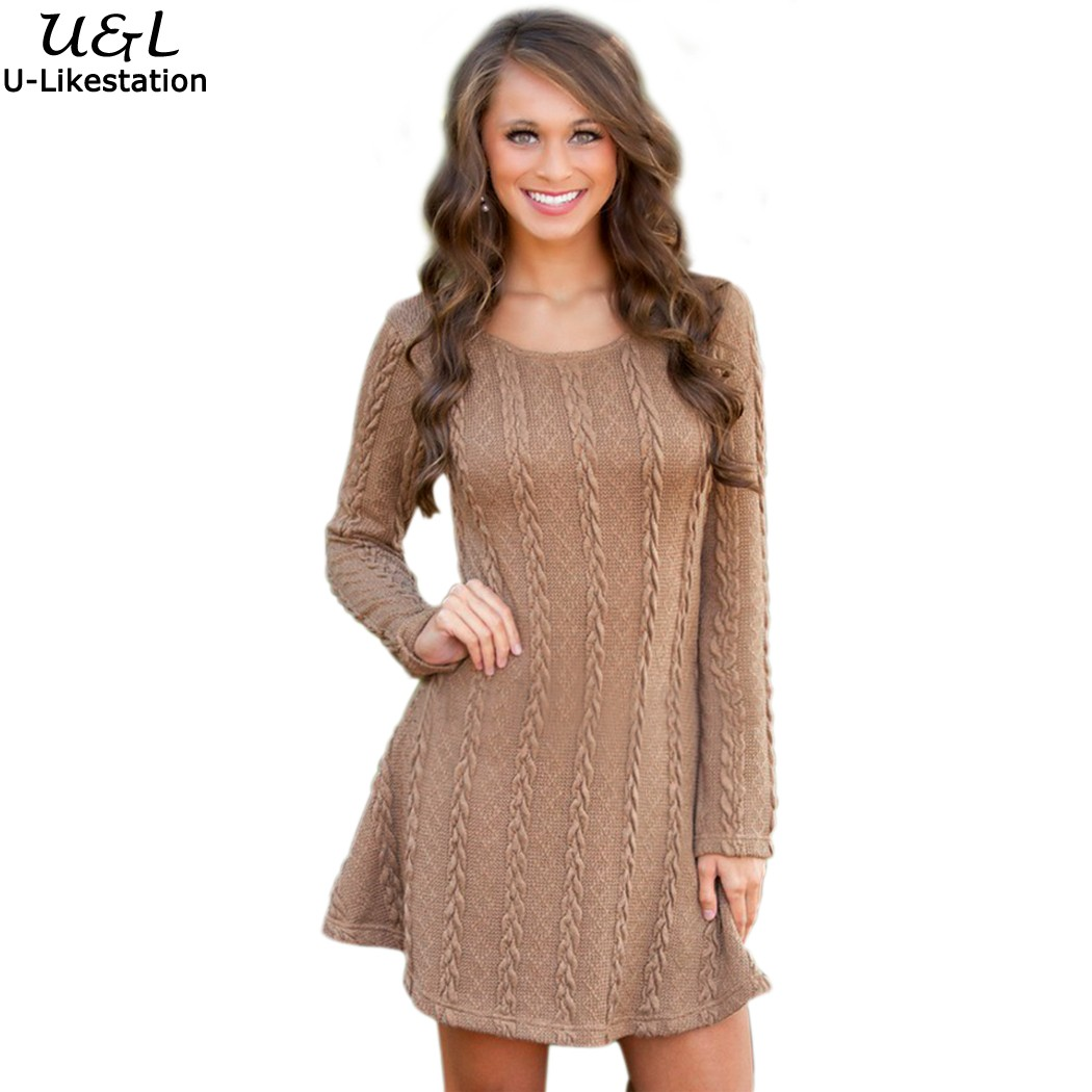 91c1a951cf719 2017 Casual Knitted Sweater Dresses Women Long Sleeve pullover Round ...