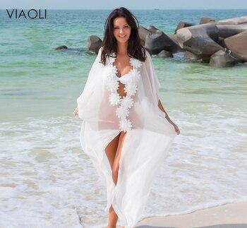 New Honeymoon Dress Beach Cover up Dress Lace Beach Tunic Pareos Swimwear Women 2018 Bikini cover up Chiffon Swimsuit Cover up beach hawaii print cover up slip dress