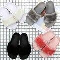 36-44 Большой размер девушку меховые тапочки унисекс мех слайды меха флип-флоп моды 10 цвета сандалии с перо люксовый бренд слайды
