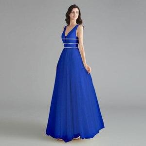 Image 5 - יופי אמילי אלגנטי שושבינה שמלות V צוואר שרוולים פאייטים אפליקציות המפלגה שמלת 2019 ארוך ורוד לנשף שמלות לחתונה