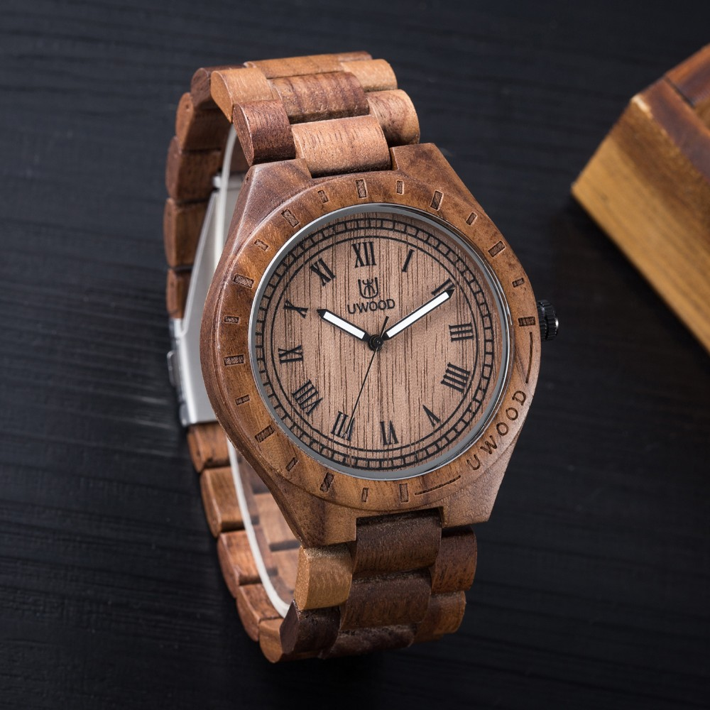 18 Hot Sell Men Dress Watch QUartz UWOOD Mens Wooden Watch Wood Wrist Watches men Natural Calendar Display Bangle Gift Relogio 21