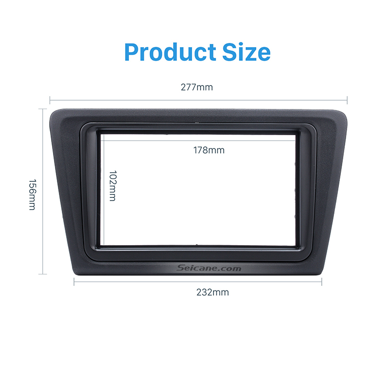 Seicane Black Double Din Car Stereo Fascia Kit for 2013 Skoda Rapid Dash Mount Frame Panel CD Trim Auto Stereo Interface Radio seicane exquisite 202 102 double din car radio fascia for 2009 2013 toyota avensis dvd frame in dash mount kit trim bezel