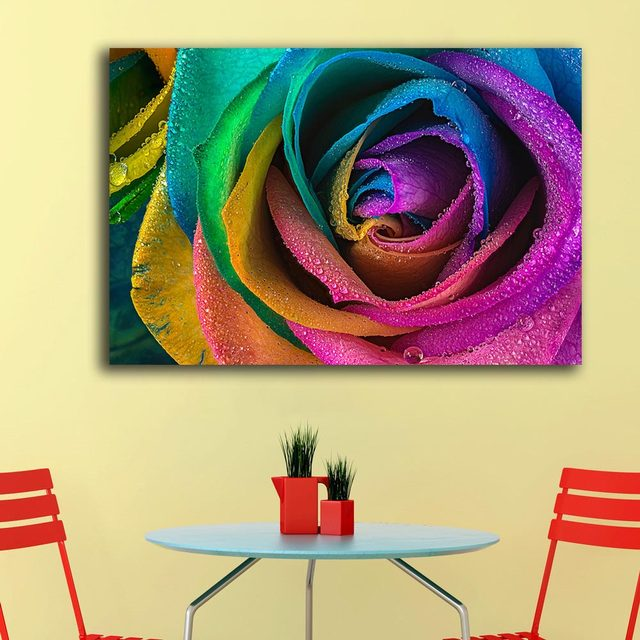 Online Shop Large Size colored Rose closeup 1 Wall Art Paiting ...