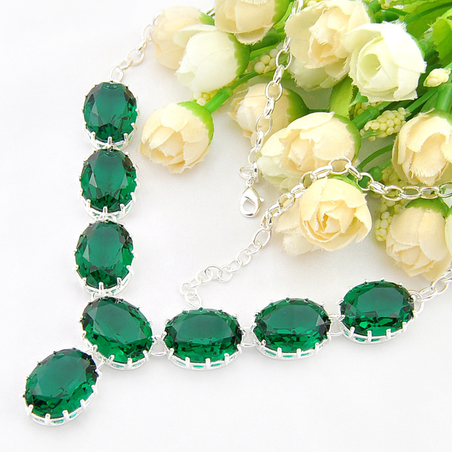 Fashion Necklace Glittering Statement Jewelry Gorgeous Green Crystal Wedding Gifts Engagement Party Silver Necklace