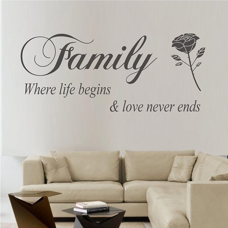 DIY Family Where Life Begins Love Never Ends warm Quotes Wall Stickers home decor wall decals adesivo de parede decoracion
