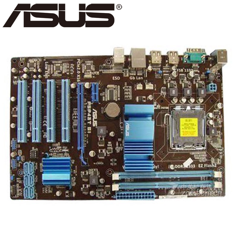Asus P5P43T SI  Desktop Motherboard P43 Socket LGA 775 Q8200 Q8300 DDR3 16G ATX UEFI BIOS Original Used Mainboard On Sale asus m5a78l desktop motherboard 760g 780l socket am3 am3 ddr3 16g atx uefi bios original used mainboard on sale