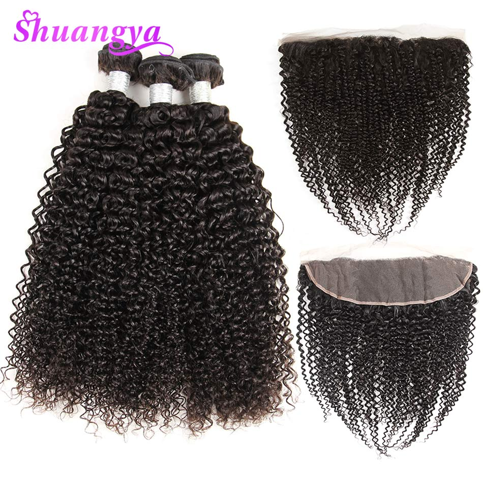 Shuangya Brazilian Kinky Curly Bundles With Frontal 100 Human Hair 3 4 Bundles With Closure Remy