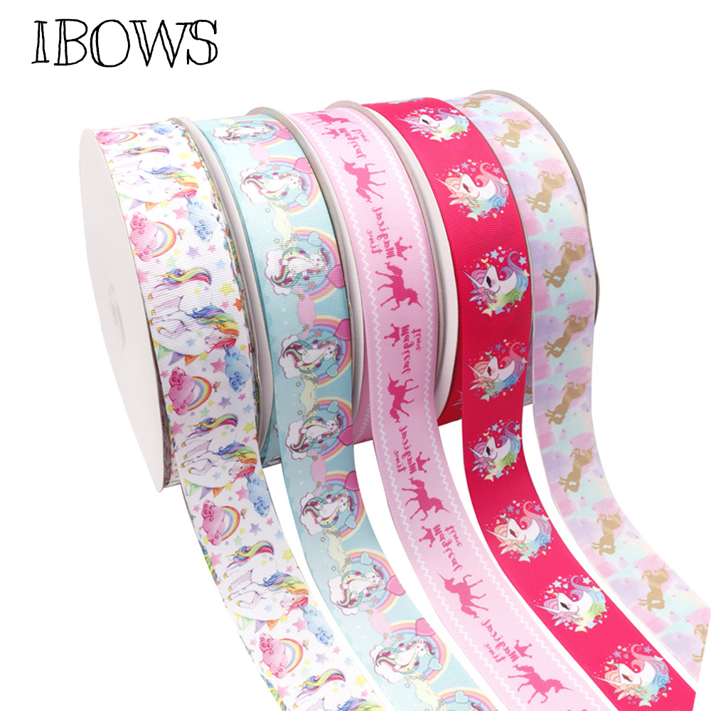 IBOWS <font><b>38mm</b></font> Cartoon <font><b>Grosgrain</b></font> <font><b>Ribbon</b></font> Rainbow Unicorn Printed Tape DIY Hair Accessories Gifts Packaging Party Decoration 5yards image