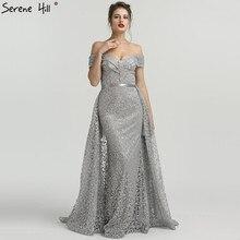 SERENE HILL Grey Boat Neck Glitter Evening Dresses