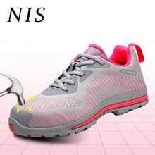 NIS Lightweight Bulletproof Work Safety Shoes Women Shoes AtreGo Work Boots Anti-smashing Steel Toe Hiking Shoes Size EU36-EU45