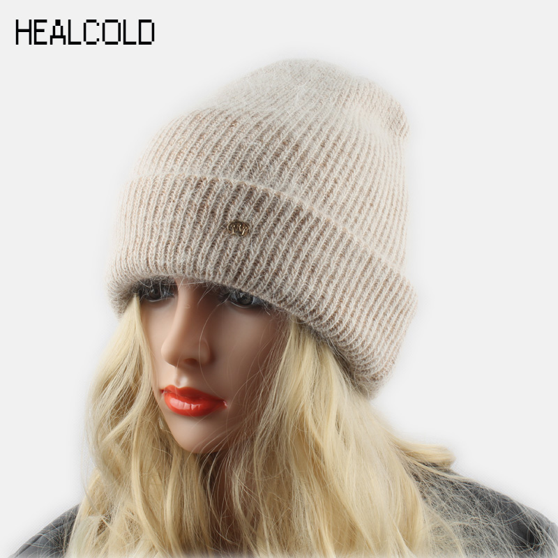 Winter Wool Warm Hats For Women Rabbit Fur Knitted Beanies Ladies Angola Casual Cap Skullies rabbit fur hat fashion thick knitted winter hats for women outdoor casual warm cap men wool skullies beanies