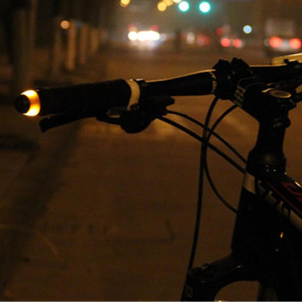 2pcs Bike Bicycle Handlebar End Plug LED Light Turn Signal Warning Lamp