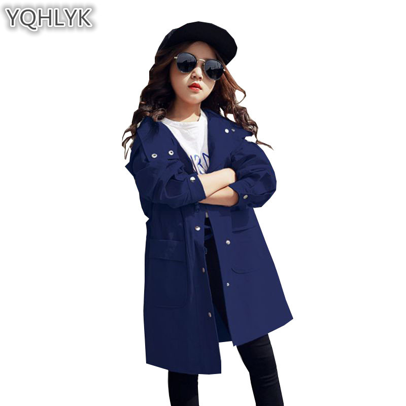 New Fashion Spring Autumn Girls Coat 2018 Korean Children Hooded Windbreaker Jackets Casual Generous Kids Clothes W30