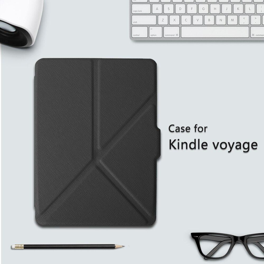 Housse pour Amazon Kindle Voyage 6 pouces eReader transformateur étui en cuir PU + film protecteur d'écran + stylet