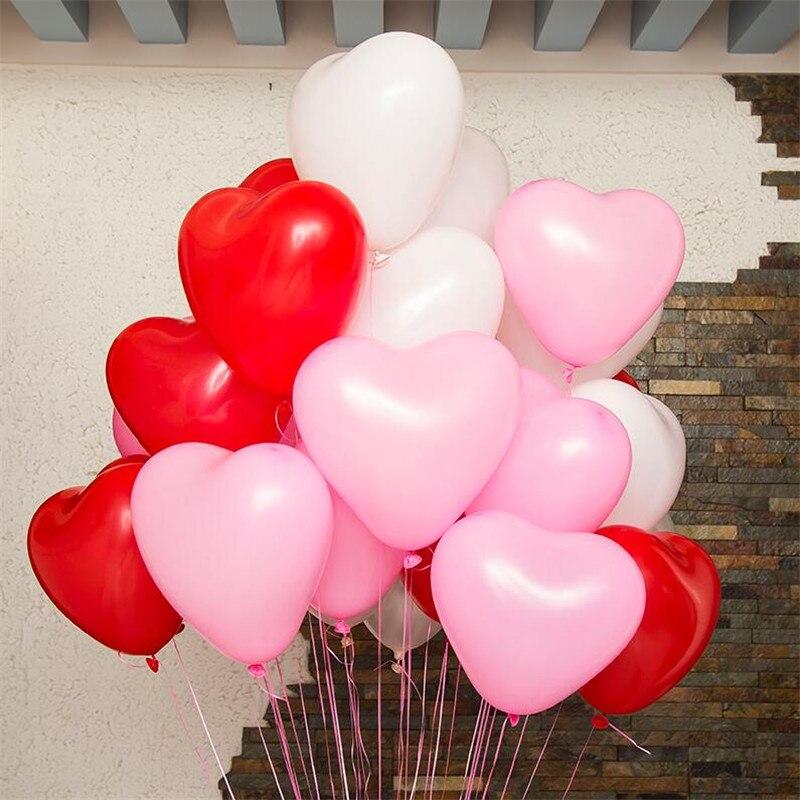 10 шт./лот 12 дюйм(ов) 2,2 г красный сердце любовь романтическая латекс гелиевыми Шарами День Святого Валентина День рождения надувные шары