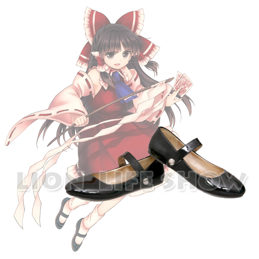 Touhou Project Women Lolita Maid Flat Heel Cosplay Strap Leather Round Toe Shoes