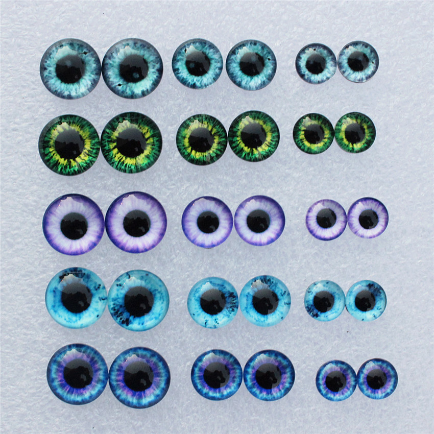 Mixed With 8mm 10mm And 12mm Round In Paris Dragon Eyes Glass Cabochon Flatback Photo Cameo DIY Accessories 30pcs/lot K06024