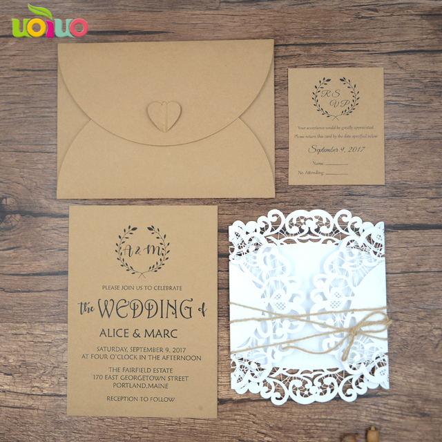 Aliexpress buy 50pc laser vintage white wedding invitation 50pc laser vintage white wedding invitation cards with kraft envelopes rsvp hemp rope for wedding decoration filmwisefo