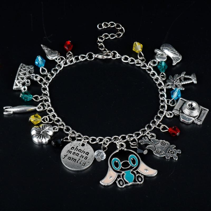 Women's Fashion Jewelry Cartoon Lilo Stitch Ohana Charms Bracelet Bangle Girls Wristlet Christmas Cosplay Party Gift