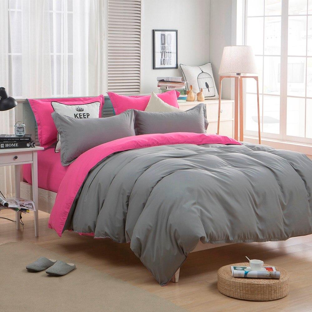 Solid Bedding Set Sanding Duvet Cover Double Side Queen