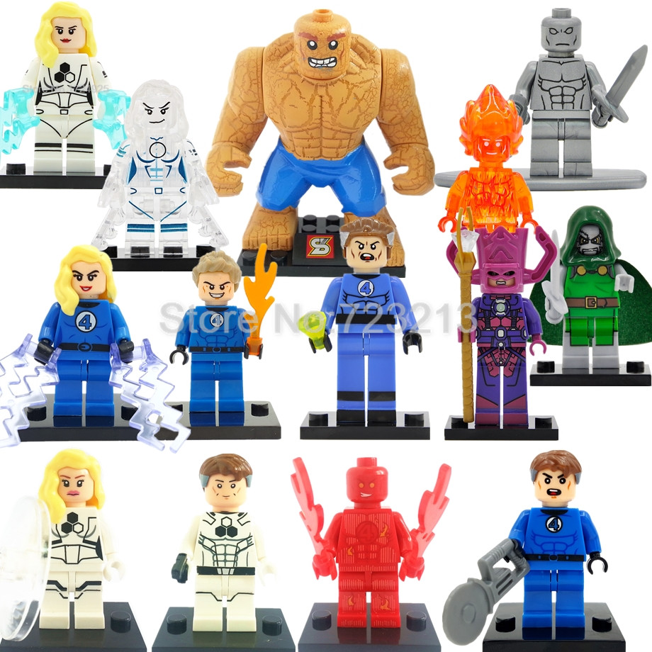 Marvel Super Hero Fantastic Four Figure Human Torch Invisible Woman The Thing Building Blocks Set Model Brick Toys