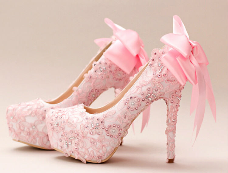 Pink Wedding Dress Shoes : Pale pink bridal shoes lace diamond bow high with