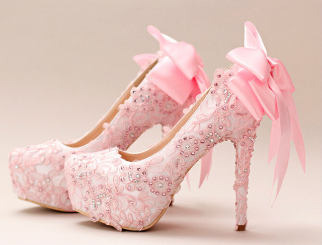 Pale Pink Bridal Shoes Lace Diamond Bow High With Waterproof Shoes Wedding  Dress Female Wedding Shoes