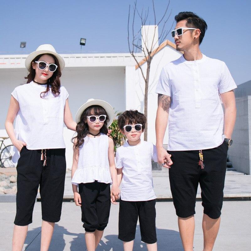 Famille correspondant tenues mère père et bébé fille fils correspondant vêtements Couple costume grande soeur pantalon petit frère short 3