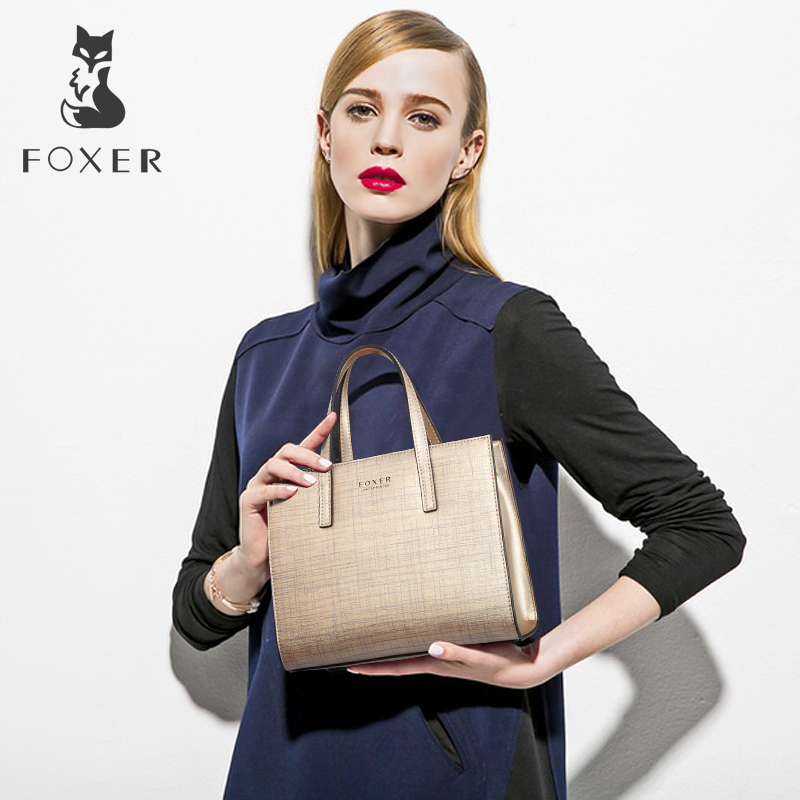 FOXER Women Fashion Leather Handbags Lady Shoulder Bag Simple & Luxury Tote Bags For Female Classic High Quality Bags For Girl high quality women handbags crocodile pattern leather fashion shopper tote bags female luxurious lady bags