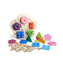 цена на Wooden children's early education shape matching set column game digital building blocks toys