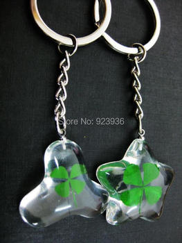 Free Shipping $50  48 pcs Real Four Leaf Clover Keychain Trendy Lucid Ice Design Good Gift For Christmas/Family Members/Lovers