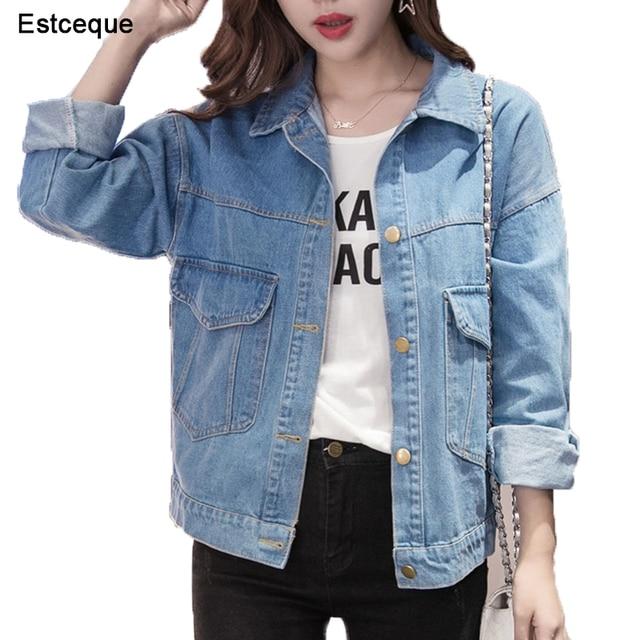 online store 7c2ba b68ec Delle donne di Base Cappotti da Donna Giacca Jeans Vintage Manica Lunga  Allentati Femminili Dei Cappotto Casual Ragazze Outwear