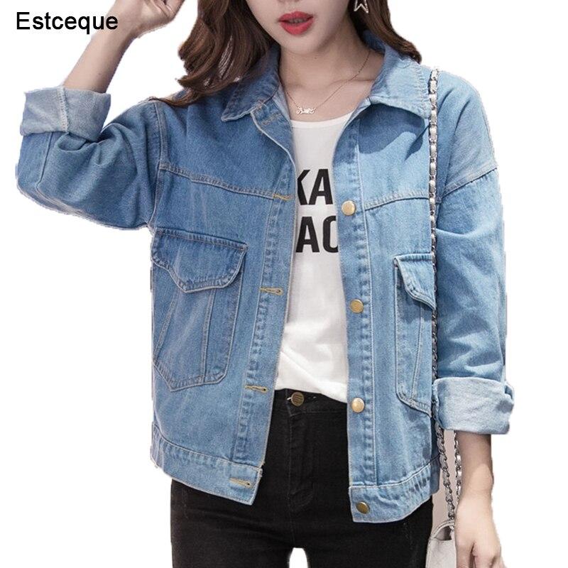 Women Basic   Coats   Women Denim Jacket Vintage Long Sleeve Loose Female Jeans   Coat   Casual Girls Outwear