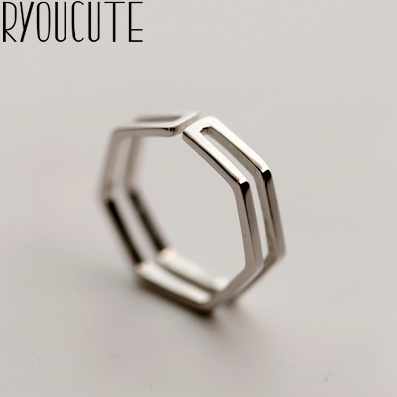 Punk Trendy Silver Color Hexagon Big Rings for Women Luxury Jewelry Adjustable Antique Rings Anillos joyas de plata 1