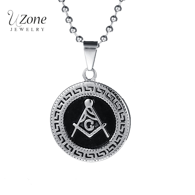 Aliexpress buy uzone punk vintage masonic pendants uzone punk vintage masonic pendants necklaces stainless steel chain necklace for men gift wholesale drop mozeypictures Gallery