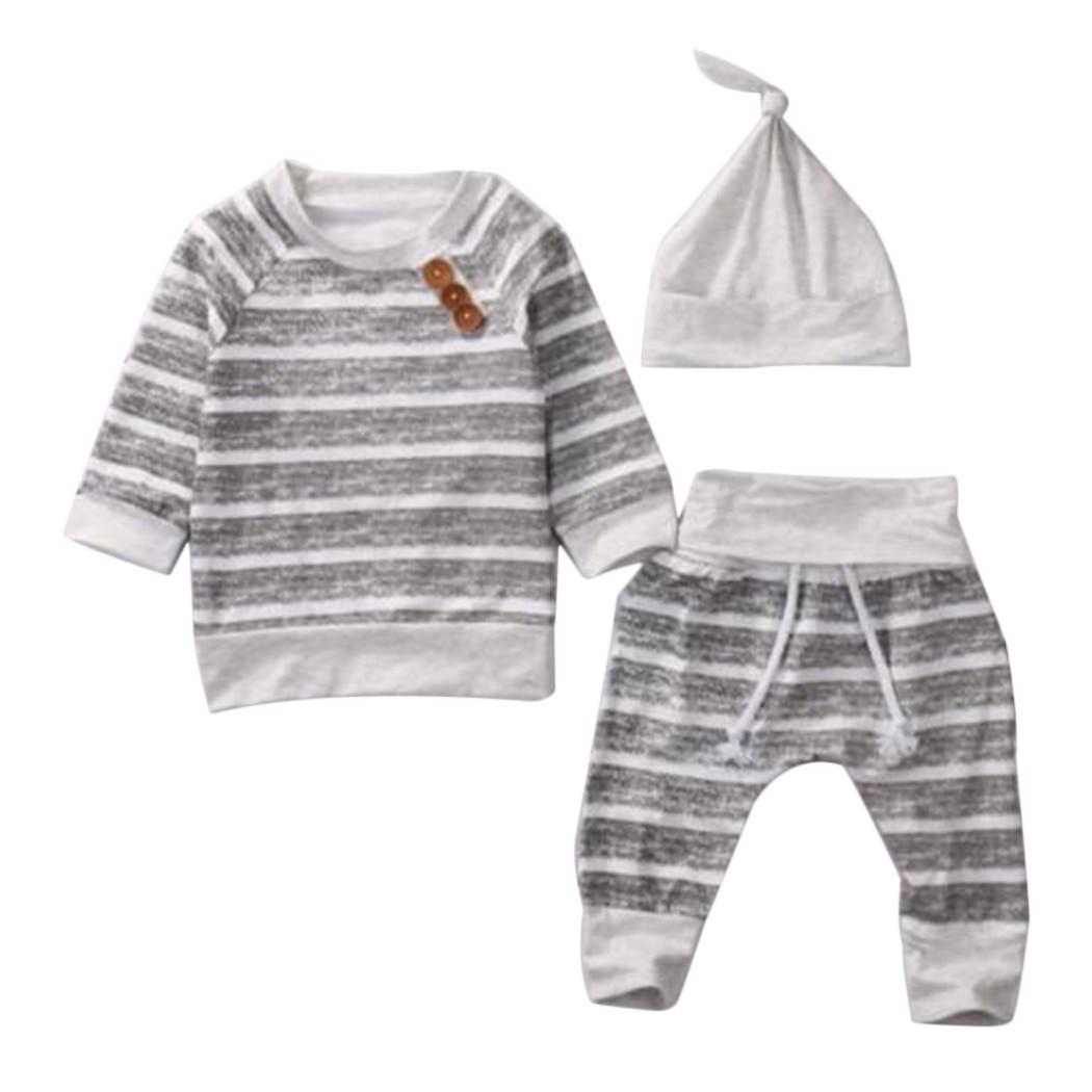 3Pcs/Set Baby Clothing Sets Baby Boys Girls Clothes Infant Striped T-shirt+Pants+Hat Kids Autumn Enfant Outfits Toddler Suit