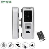 RAYKUBE стеклянный дверной замок офисный Keyless Электрический замок отпечатков пальцев с сенсорной клавиатурой смарт карта пульт дистанционног