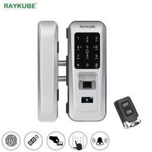 RAYKUBE Glas Türschloss Büro Keyless Elektrische Fingerprint Lock Mit Touch Tastatur Smart Card Fernbedienung Schlüssel Türschloss R W06