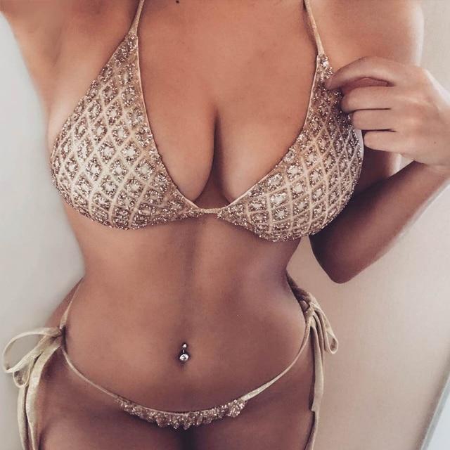 7e36978ce97 2017 Sexy Women Bandage Sequin Diamond Triangle Bikini Set Push Up Padded Bra  Swimsuit Summer Beachwear Swimwear Bathing Suit