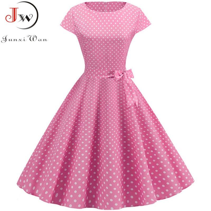 Vintage Dress Women 2019 Summer Short Sleeve Elegant Polka Dot Midi Casual Office Party Dress 50s 60s Pin Up Rockabilly Dresses